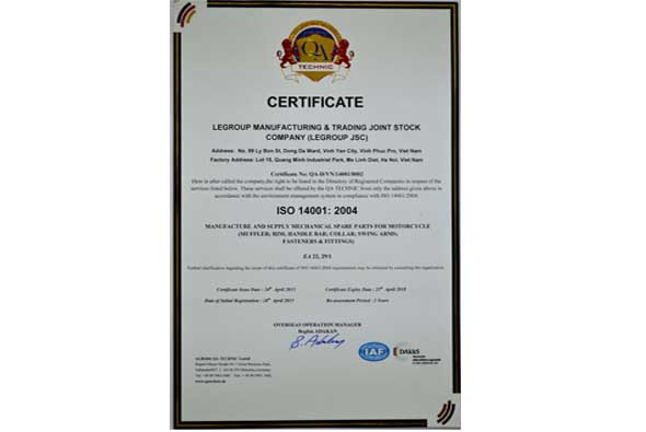 LeGroup received ISO 14001-2004 in April 2015 by QA Technic, Germany.